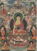 A THANGKA DEPICTING BUDDHA SHAYAMUNI