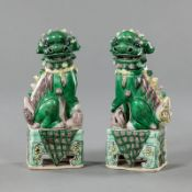 A PAIR OF POLYCHROME BISCUIT PORCELAIN FO LIONS