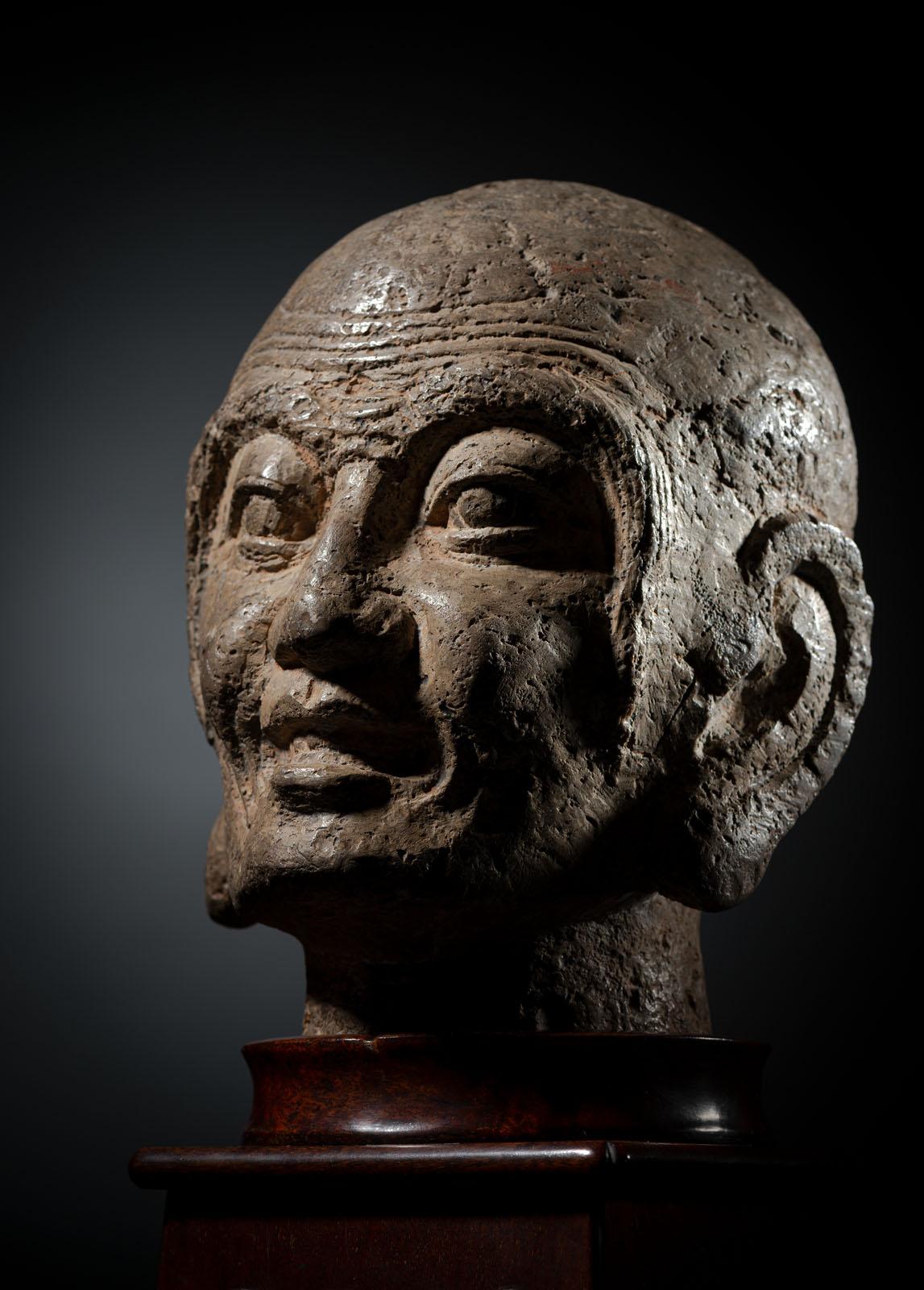 A RARE STONE HEAD OF PROBABLY KASYAPA - Image 3 of 6