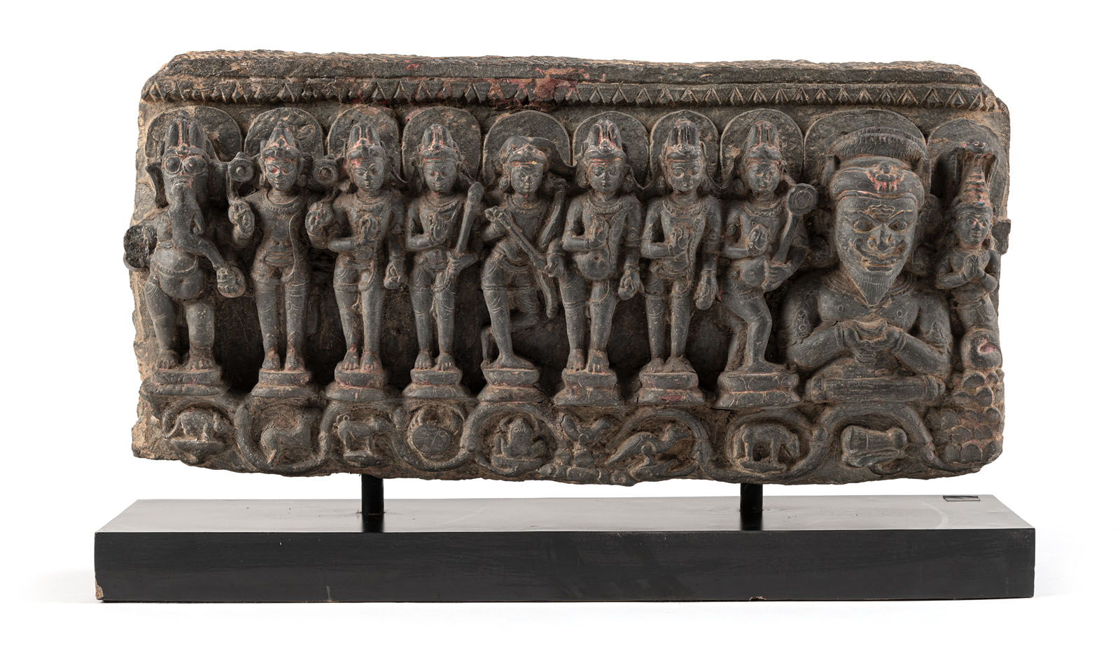 A PHYLLITE STONE STELE DEPICTING THE NINE PLANETS, NAVAGRAHA