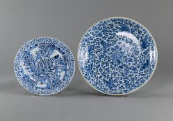 TWO BLUE AND WHITE FLORAL PORCELAIN PLATES