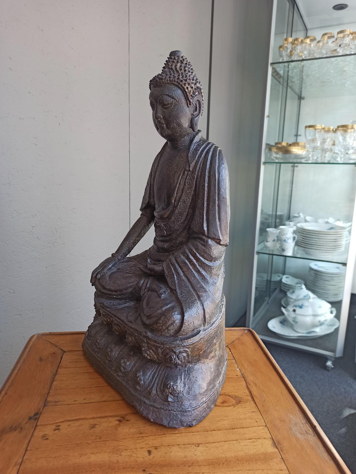 A BRONZE FIGURE OF BUDDHA SHAKYAMUNI - Image 5 of 6