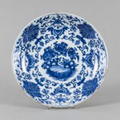 A BLUE AND WHITE PORCELAIN LOTUS PLATE
