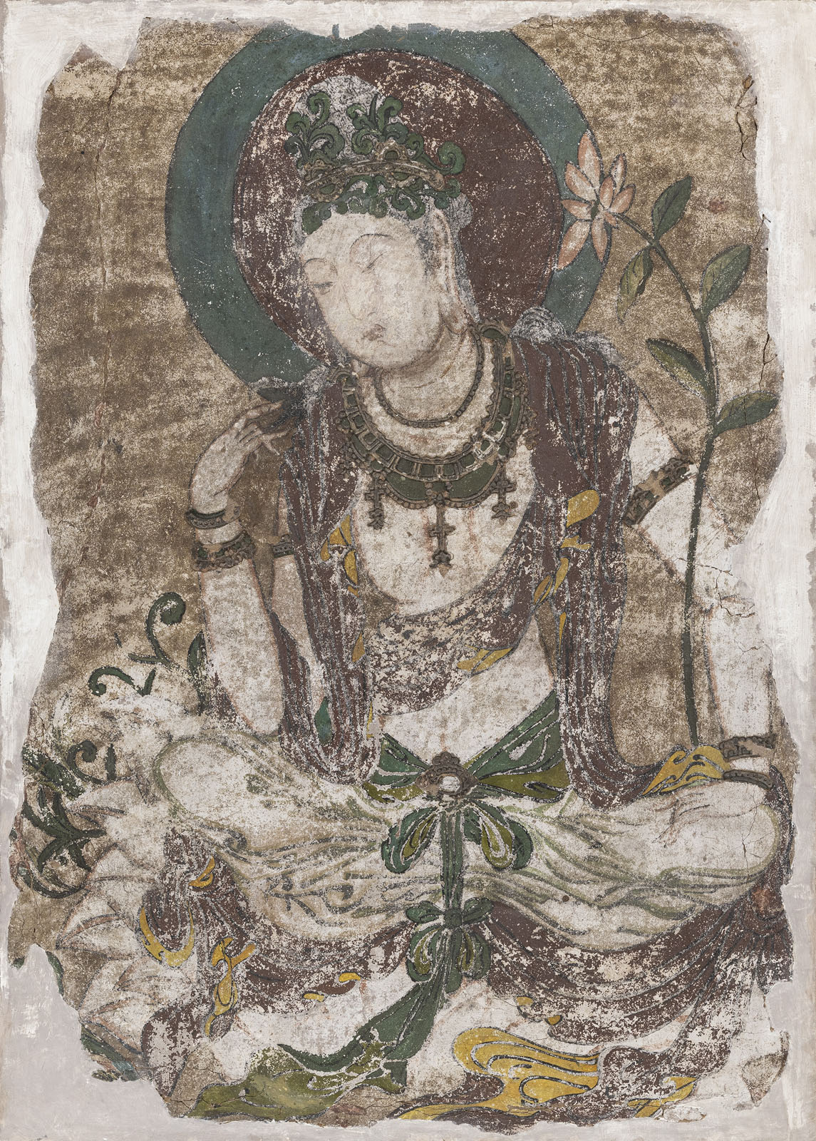 A RARE STUCCO PAINTING OF GUANYIN