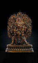 A HIGHLY IMPORTANT MONUMENTAL IMPERIAL GILT-BRONZE FIGURE OF VAJRABHAIRAVA