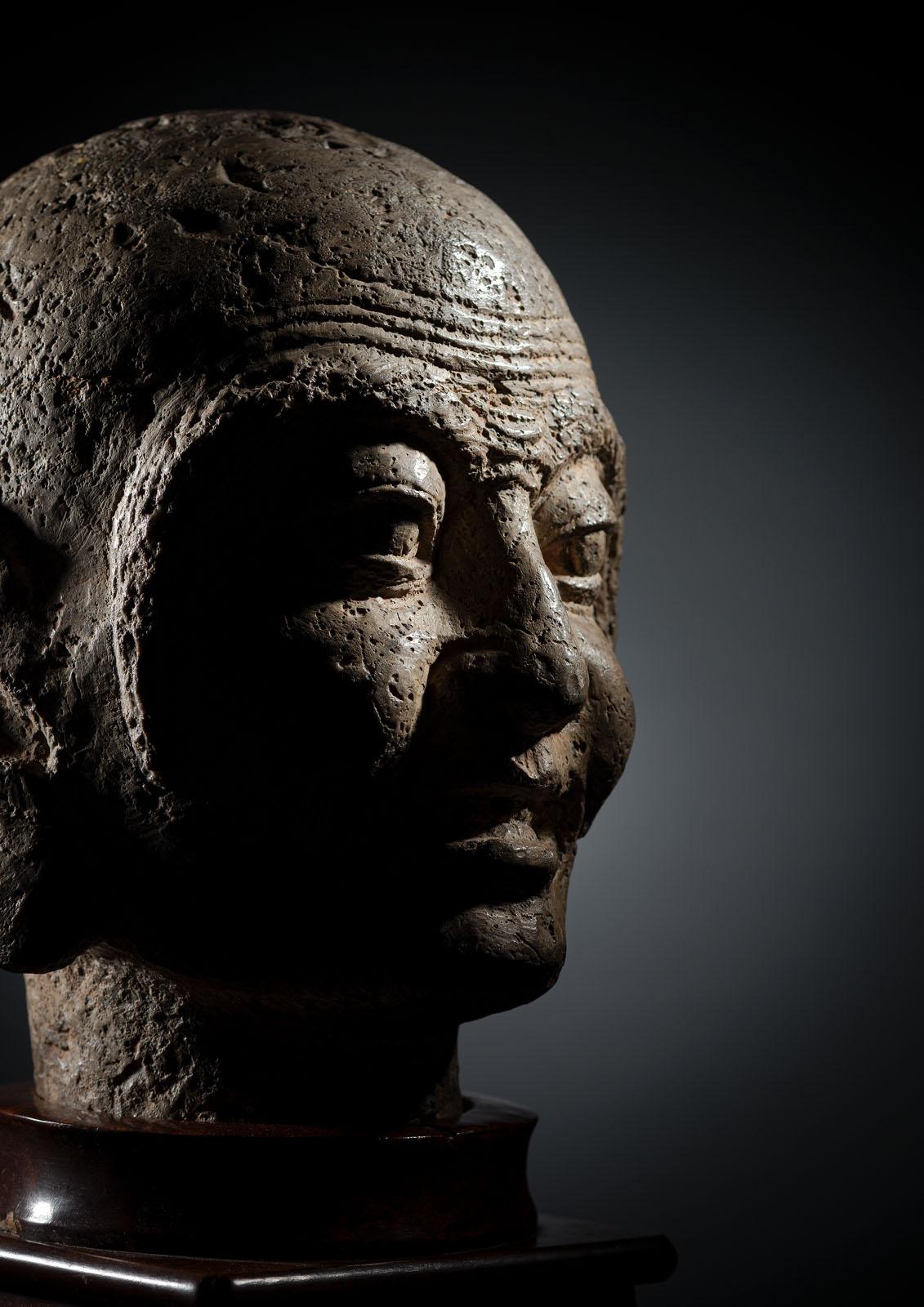 A RARE STONE HEAD OF PROBABLY KASYAPA - Image 2 of 6