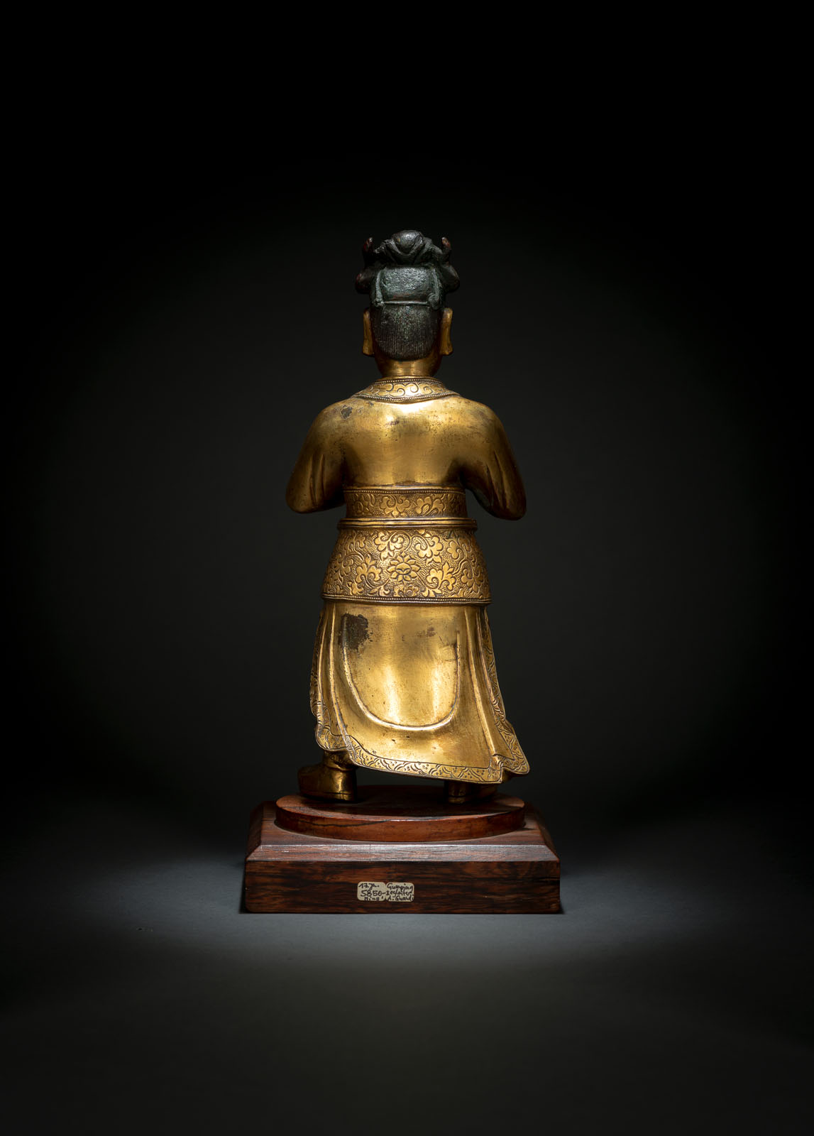 A GILT-BRONZE FIGURE OF STANDING GUAN PING - Image 2 of 2