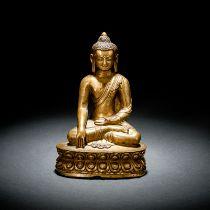 A BRONZE FIGURE OF BUDDHA SHAKYAMUNI
