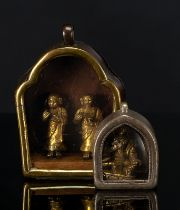 TWO MINIATURE GAU, ONE MADE OF SILVER THE OTHER GILDED COPPER WITH LUOHAN OR SEATED BODHISATTVA