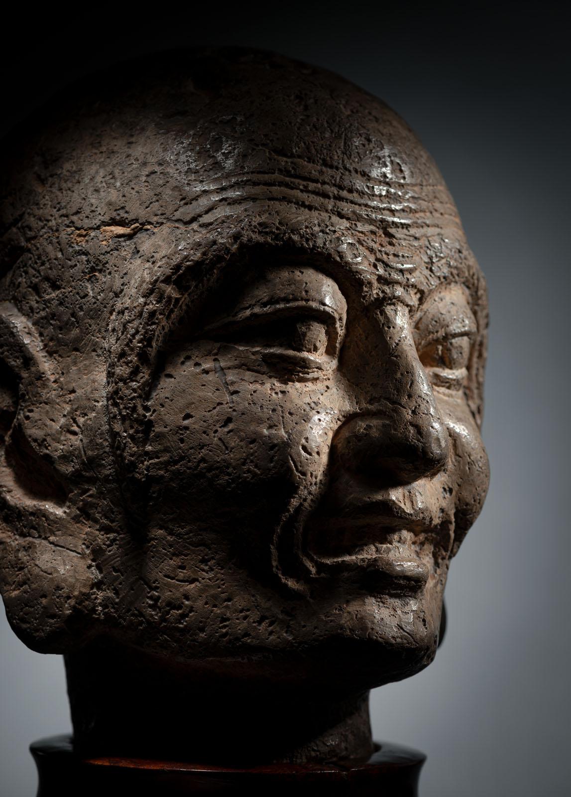 A RARE STONE HEAD OF PROBABLY KASYAPA - Image 5 of 6