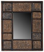 A RENAISSANCE STYLE GILT EMBOSSED BRASS MOUNTED MIRROR