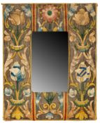 A PROBABLY FLEMISH OR ENGLISH MIRROR WITH SILK WAVERY