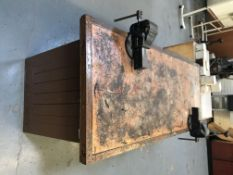 Heavy Duty Work Bench And 2 Vices