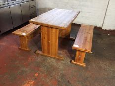 Pine wooden table with 2 benches
