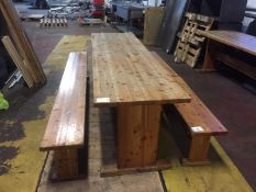 Large Pine Table with 1 Large and 2 Small benches