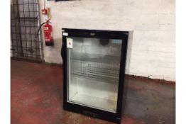 Black polar single door glass fronted fridge