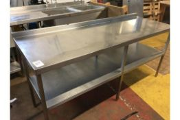 Stainless steel worktop counter with shelf