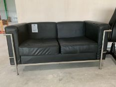 Black Leather Two Seater Sofa with Chrome Legs