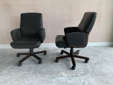 Black Leather Commercial Grade Swivel Office Chair x2