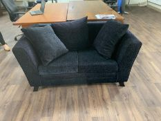 Black Fabric 2 Seater Sofa