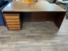 Dark Wooden Desk with Matching 5 Drawer Filing Cabinet