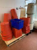 Pallet of Storage Bins and Buckets