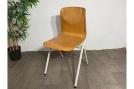 Mid Century Wooden Chair with Steel Legs x2