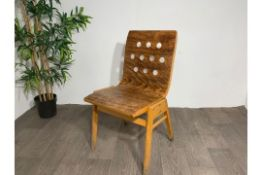 Mid Century Wooden Chair With Hole Detail x2