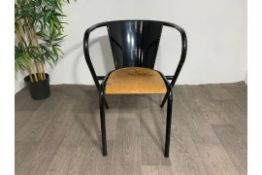 Adico 5008 Black Chair With Wooden Seat x2