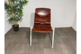 Thur Op Seat Stackable Chair in mahogany resinx2
