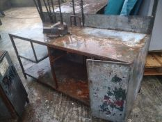 Steel frame workbench clad with galvanized sheeting