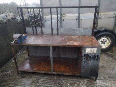 Steel framed workbench clad in galvanised sheeting