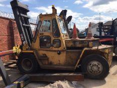 Caterpillar Forklift Truck, Diesel Truck model V225B, approx 10 tonne capacity, large forks, has