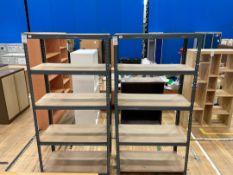 Faux Wooden Storage Rack x 2 , Metal Frame, Wooden Shelf