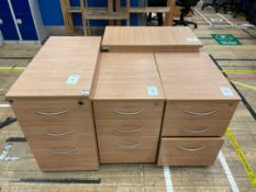 Filing Cabinets x 4, 3 Drawer Wooden