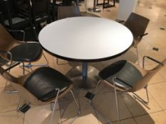 Large pedestal table with five modern designer chairs