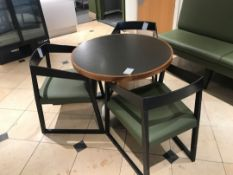 Modern pedestal table with three designer chairs
