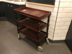 Three tier wooden wheeled serving trolley