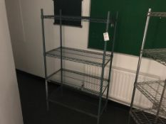 Blue wire mesh racking