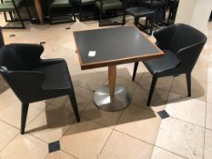 Modern pedestal table with two chairs