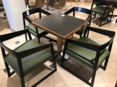 Modern pedestal table with four chairs