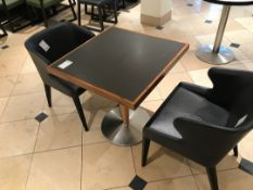 Modern square pedestal table with two chairs