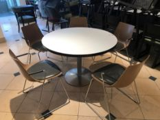 Large pedestal table with five designer modern chairs