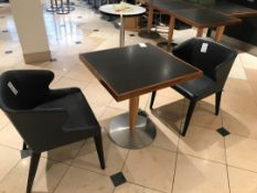 Modern pedestal table with two designer chairs