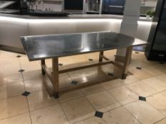 Stainless Steel Prep Table with Wooden Legs