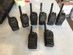Digia handheld radios x 8 and a Motorola handheld radio