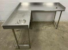 Corner prep table and handwash sink