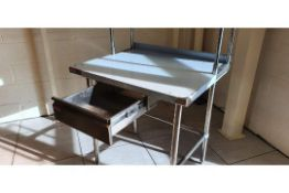 Stainless Steel Table - With Drawer & Overshelf