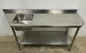 Stainless steel single bowl sink and prep table