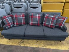 3 Seater Grey Fabric Sofa